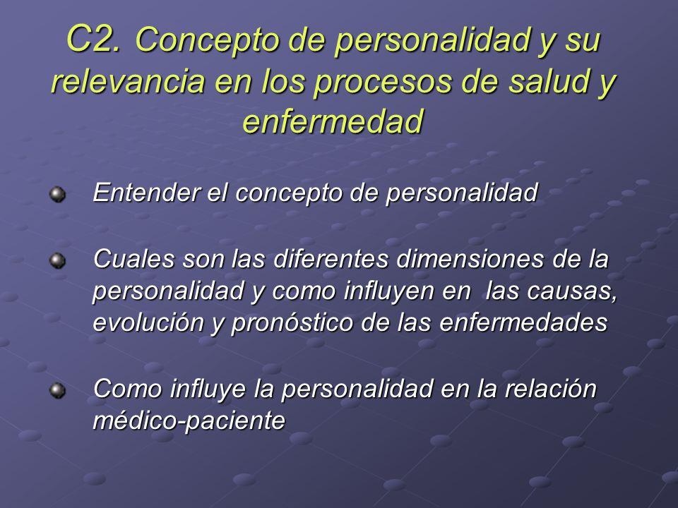 C2. Concepto de personalidad y su relevancia en los procesos de salud y enfermedad Entender el concepto de personalidad Cuales son las diferentes dime