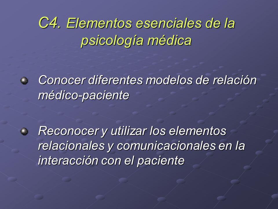C4. Elementos esenciales de la psicología médica Conocer diferentes modelos de relación médico-paciente Reconocer y utilizar los elementos relacionale