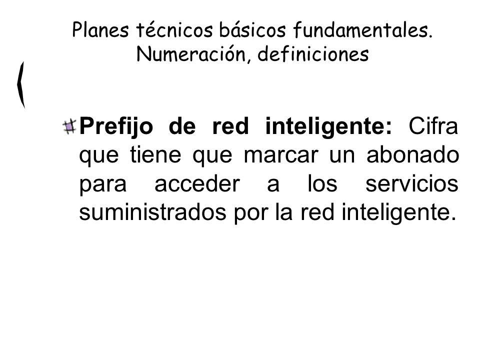 Prefijo de red inteligente: Cifra que tiene que marcar un abonado para acceder a los servicios suministrados por la red inteligente. Planes técnicos b