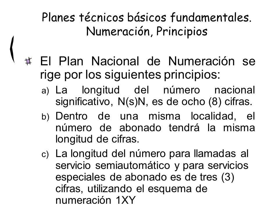 El Plan Nacional de Numeración se rige por los siguientes principios: a) La longitud del número nacional significativo, N(s)N, es de ocho (8) cifras.