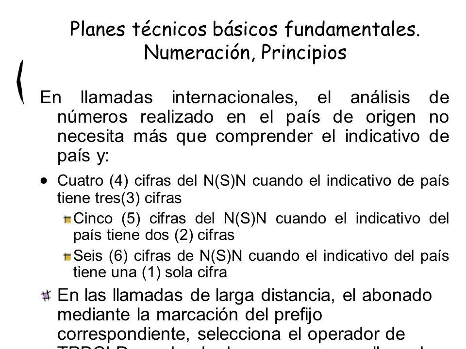 En llamadas internacionales, el análisis de números realizado en el país de origen no necesita más que comprender el indicativo de país y: Cuatro (4) cifras del N(S)N cuando el indicativo de país tiene tres(3) cifras Cinco (5) cifras del N(S)N cuando el indicativo del país tiene dos (2) cifras Seis (6) cifras de N(S)N cuando el indicativo del país tiene una (1) sola cifra En las llamadas de larga distancia, el abonado mediante la marcación del prefijo correspondiente, selecciona el operador de TPBCLD por donde desea se curse su llamada.