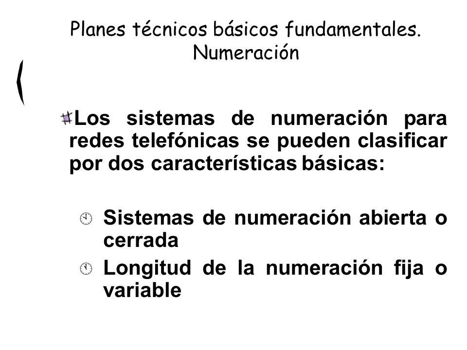 Los sistemas de numeración para redes telefónicas se pueden clasificar por dos características básicas: À Sistemas de numeración abierta o cerrada Á Longitud de la numeración fija o variable Planes técnicos básicos fundamentales.