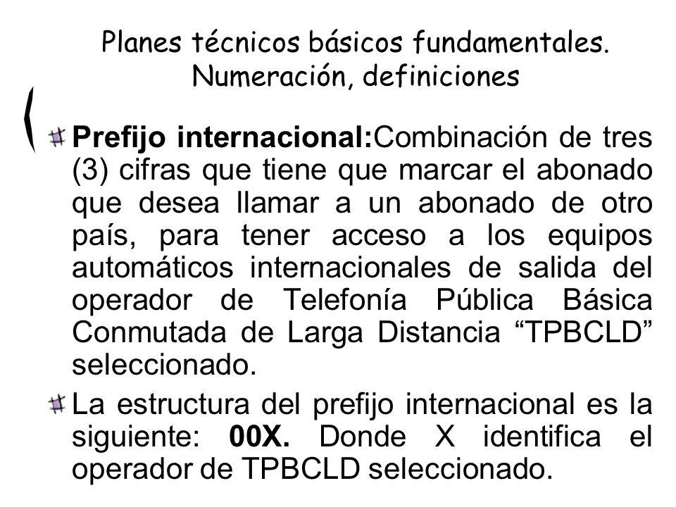 Prefijo internacional:Combinación de tres (3) cifras que tiene que marcar el abonado que desea llamar a un abonado de otro país, para tener acceso a l