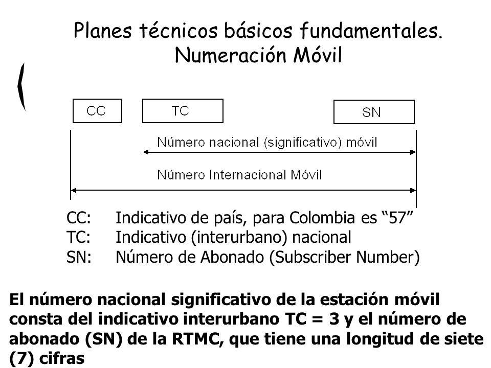 Planes técnicos básicos fundamentales. Numeración Móvil CC: Indicativo de país, para Colombia es 57 TC:Indicativo (interurbano) nacional SN:Número de