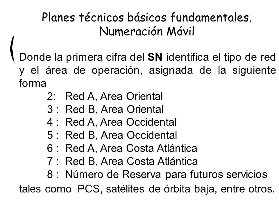 Donde la primera cifra del SN identifica el tipo de red y el área de operación, asignada de la siguiente forma 2: Red A, Area Oriental 3 : Red B, Area Oriental 4 : Red A, Area Occidental 5 : Red B, Area Occidental 6 : Red A, Area Costa Atlántica 7 : Red B, Area Costa Atlántica 8 : Número de Reserva para futuros servicios tales como PCS, satélites de órbita baja, entre otros.