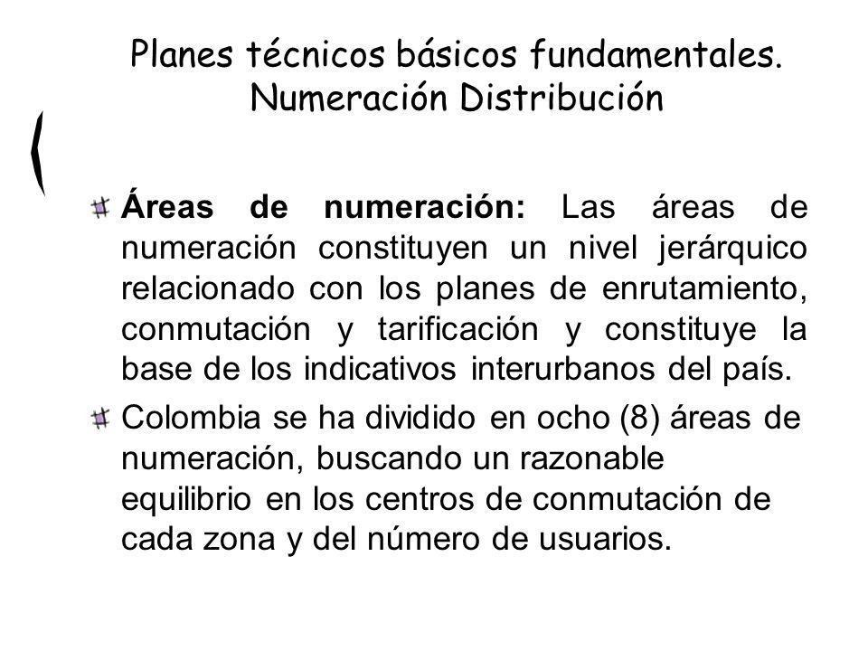 Áreas de numeración: Las áreas de numeración constituyen un nivel jerárquico relacionado con los planes de enrutamiento, conmutación y tarificación y