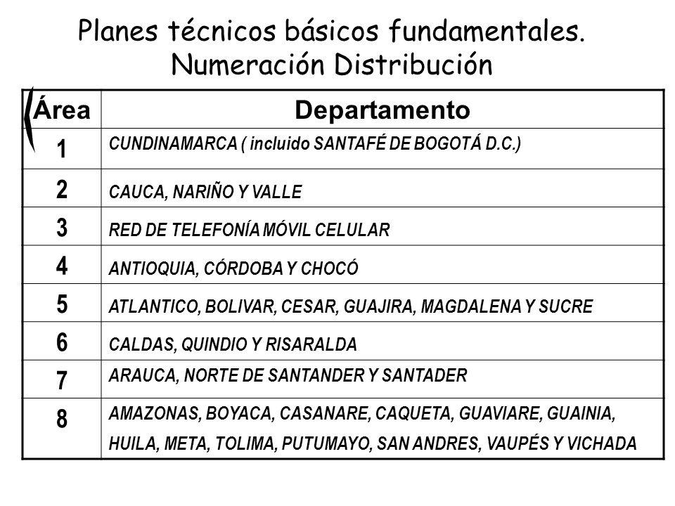 ÁreaDepartamento 1 CUNDINAMARCA ( incluido SANTAFÉ DE BOGOTÁ D.C.) 2 CAUCA, NARIÑO Y VALLE 3 RED DE TELEFONÍA MÓVIL CELULAR 4 ANTIOQUIA, CÓRDOBA Y CHO