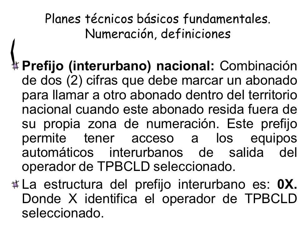 Prefijo (interurbano) nacional: Combinación de dos (2) cifras que debe marcar un abonado para llamar a otro abonado dentro del territorio nacional cua