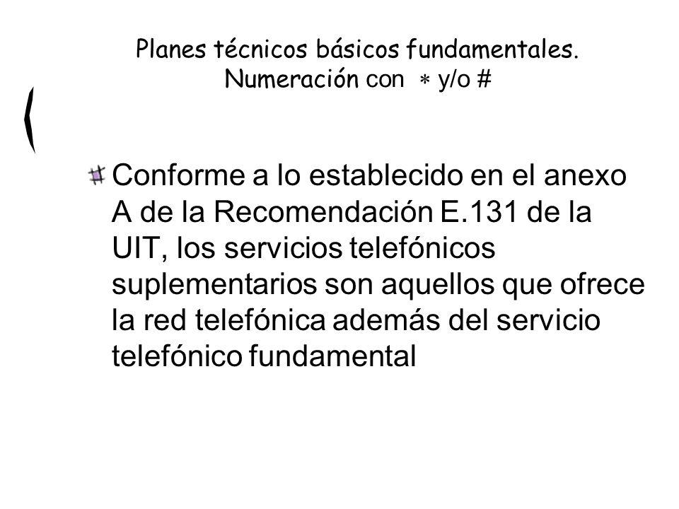 Conforme a lo establecido en el anexo A de la Recomendación E.131 de la UIT, los servicios telefónicos suplementarios son aquellos que ofrece la red telefónica además del servicio telefónico fundamental Planes técnicos básicos fundamentales.
