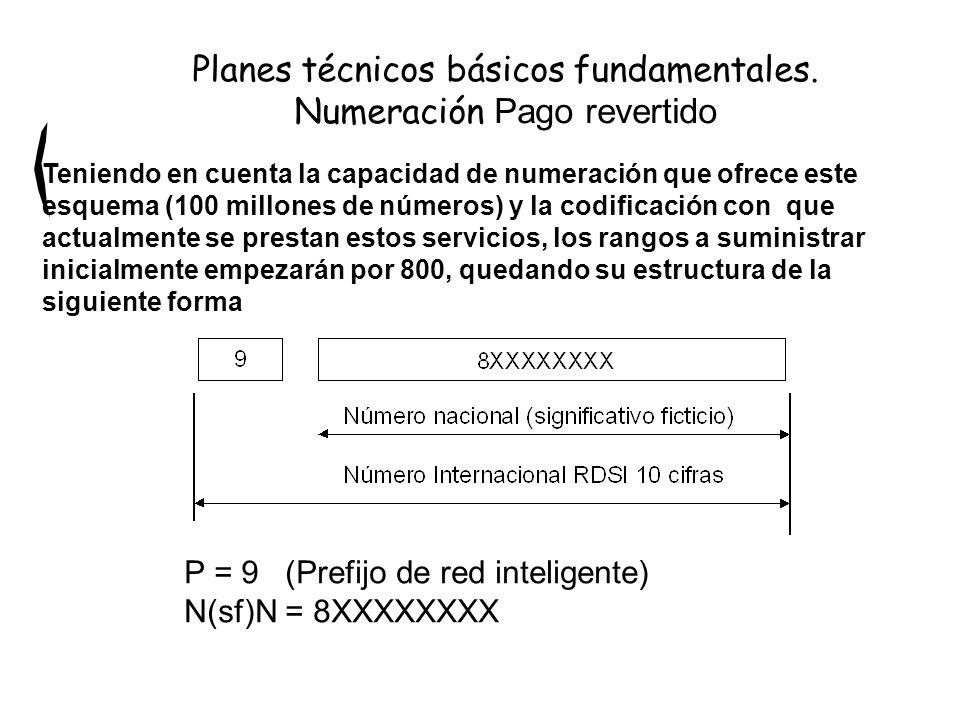 P = 9 (Prefijo de red inteligente) N(sf)N = 8XXXXXXXX Planes técnicos básicos fundamentales. Numeración Pago revertido Teniendo en cuenta la capacidad