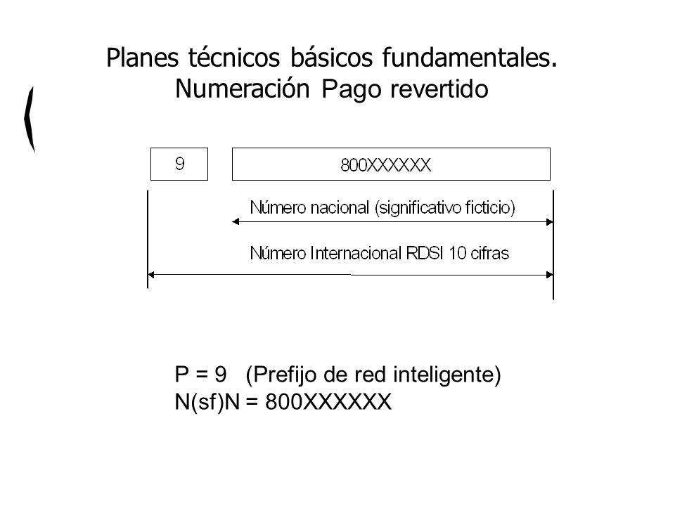 P = 9 (Prefijo de red inteligente) N(sf)N = 800XXXXXX Planes técnicos básicos fundamentales. Numeración Pago revertido