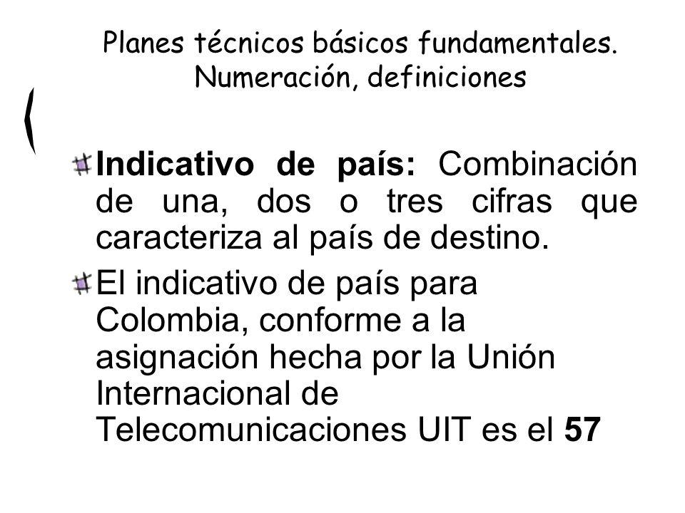 Indicativo de país: Combinación de una, dos o tres cifras que caracteriza al país de destino. El indicativo de país para Colombia, conforme a la asign