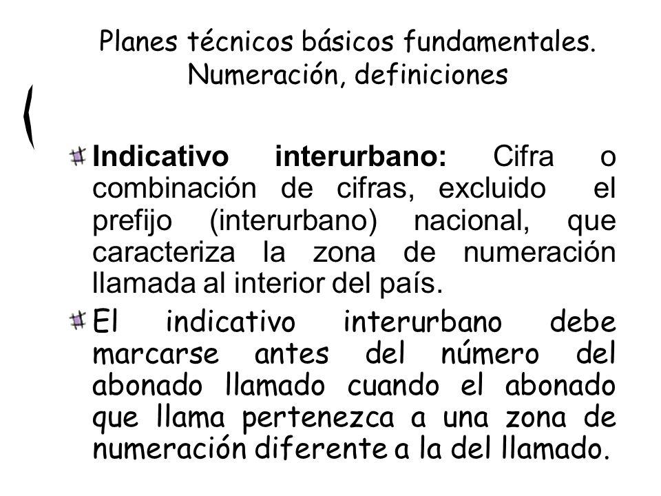Indicativo interurbano: Cifra o combinación de cifras, excluido el prefijo (interurbano) nacional, que caracteriza la zona de numeración llamada al interior del país.