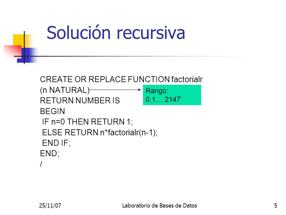 25/11/07Laboratorio de Bases de Datos5 Solución recursiva CREATE OR REPLACE FUNCTION factorialr (n NATURAL) RETURN NUMBER IS BEGIN IF n=0 THEN RETURN 1; ELSE RETURN n*factorialr(n-1); END IF; END; / Rango: 0,1,…2147