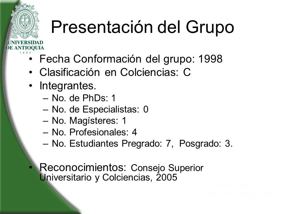 Presentación del Grupo Fecha Conformación del grupo: 1998 Clasificación en Colciencias: C Integrantes. –No. de PhDs: 1 –No. de Especialistas: 0 –No. M