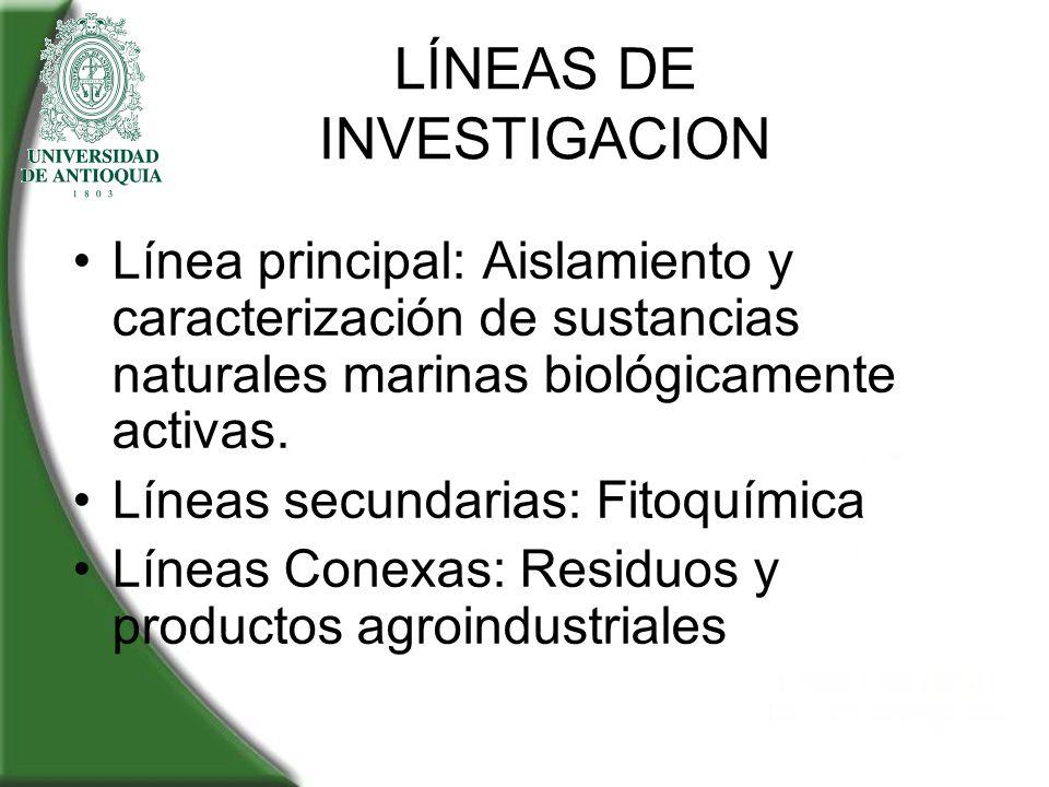 LÍNEAS DE INVESTIGACION Línea principal: Aislamiento y caracterización de sustancias naturales marinas biológicamente activas. Líneas secundarias: Fit