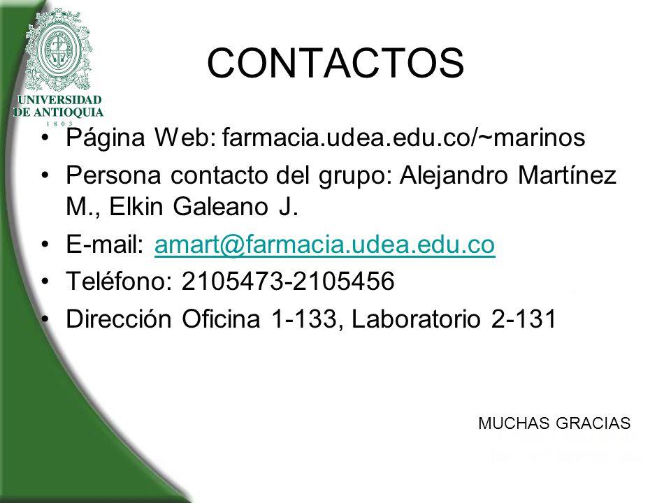 CONTACTOS Página Web: farmacia.udea.edu.co/~marinos Persona contacto del grupo: Alejandro Martínez M., Elkin Galeano J. E-mail: amart@farmacia.udea.ed