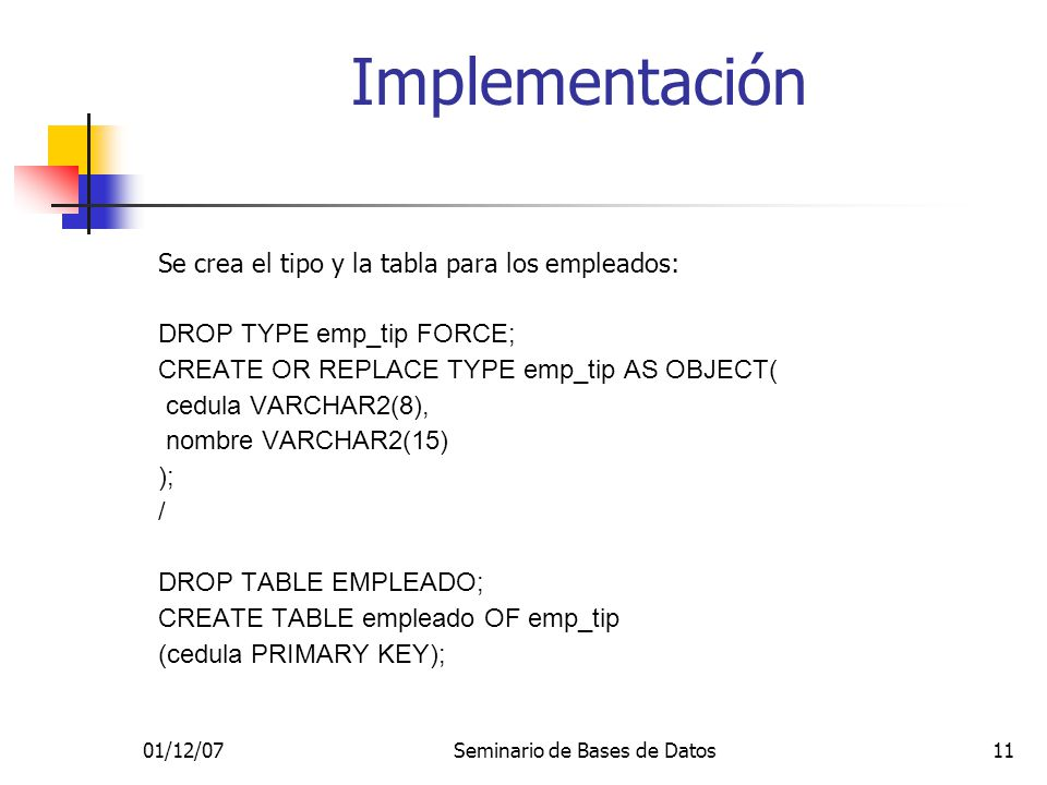 01/12/07Seminario de Bases de Datos11 Se crea el tipo y la tabla para los empleados: DROP TYPE emp_tip FORCE; CREATE OR REPLACE TYPE emp_tip AS OBJECT