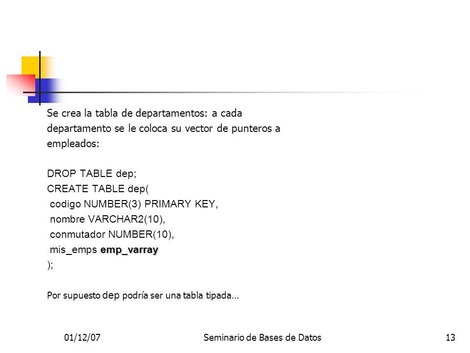 01/12/07Seminario de Bases de Datos13 Se crea la tabla de departamentos: a cada departamento se le coloca su vector de punteros a empleados: DROP TABL