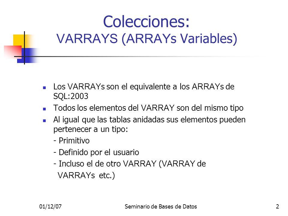 01/12/07Seminario de Bases de Datos2 Colecciones: VARRAYS ( ARRAY s Variables) Los VARRAY s son el equivalente a los ARRAY s de SQL:2003 Todos los elementos del VARRAY son del mismo tipo Al igual que las tablas anidadas sus elementos pueden pertenecer a un tipo: - Primitivo - Definido por el usuario - Incluso el de otro VARRAY ( VARRAY de VARRAY s etc.)
