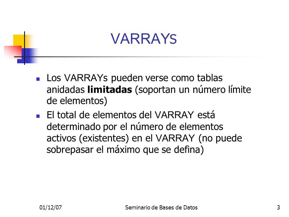 01/12/07Seminario de Bases de Datos3 VARRAY S Los VARRAY s pueden verse como tablas anidadas limitadas (soportan un número límite de elementos) El total de elementos del VARRAY está determinado por el número de elementos activos (existentes) en el VARRAY (no puede sobrepasar el máximo que se defina)
