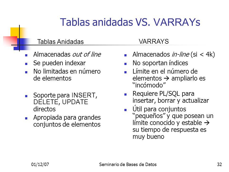01/12/07Seminario de Bases de Datos32 Tablas anidadas VS. VARRAY s Almacenadas out of line Se pueden indexar No limitadas en número de elementos Sopor