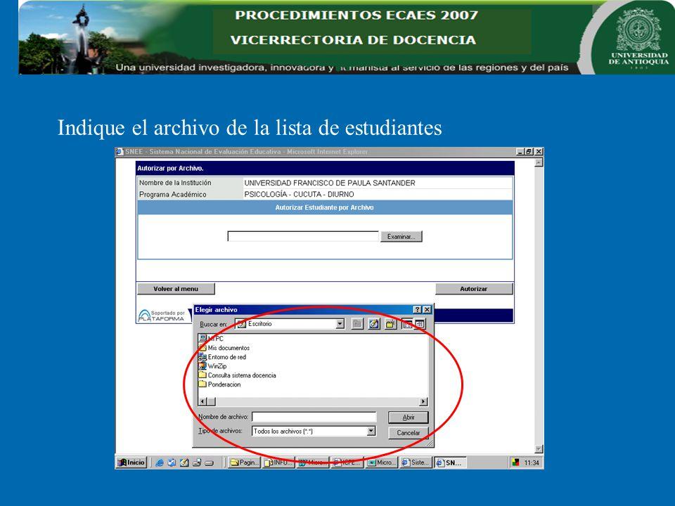 Indique el archivo de la lista de estudiantes