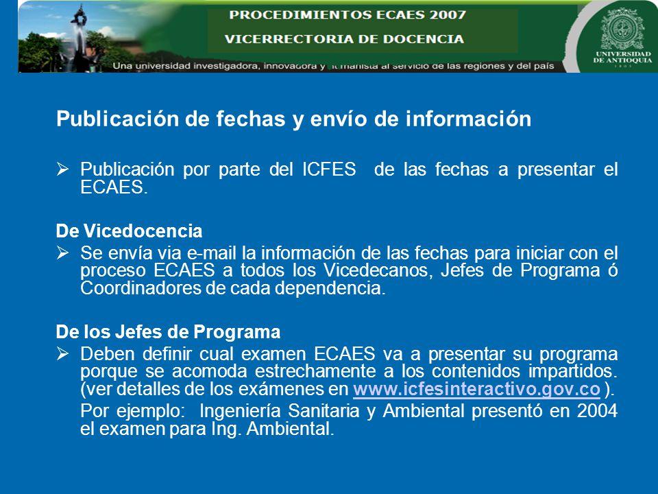 Publicación de fechas y envío de información Publicación por parte del ICFES de las fechas a presentar el ECAES.