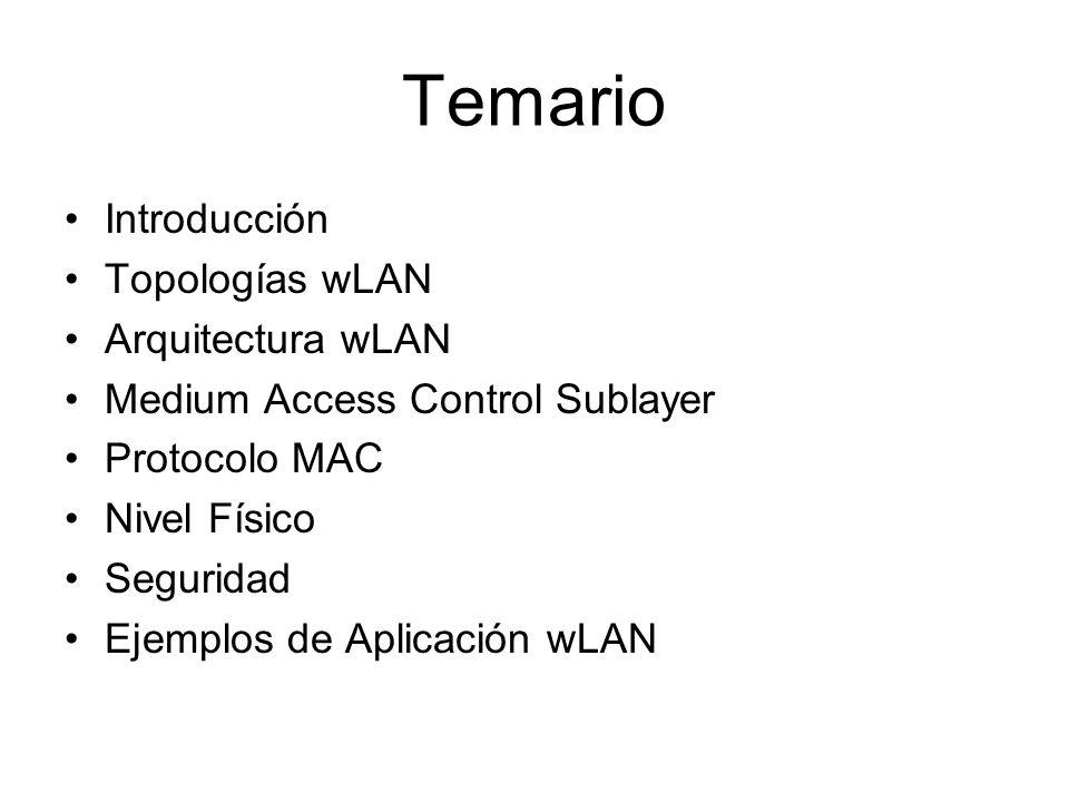 Temario Introducción Topologías wLAN Arquitectura wLAN Medium Access Control Sublayer Protocolo MAC Nivel Físico Seguridad Ejemplos de Aplicación wLAN