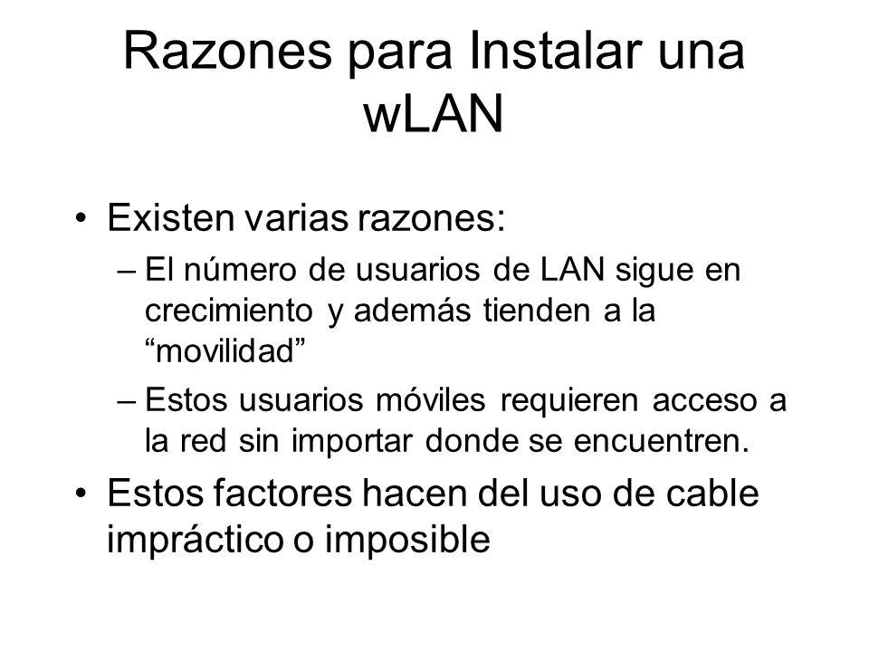 Razones para Instalar una wLAN Existen varias razones: –El número de usuarios de LAN sigue en crecimiento y además tienden a la movilidad –Estos usuarios móviles requieren acceso a la red sin importar donde se encuentren.