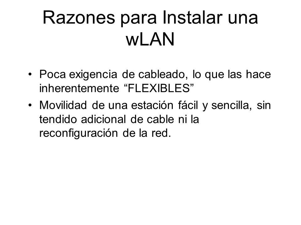 Razones para Instalar una wLAN Poca exigencia de cableado, lo que las hace inherentemente FLEXIBLES Movilidad de una estación fácil y sencilla, sin tendido adicional de cable ni la reconfiguración de la red.