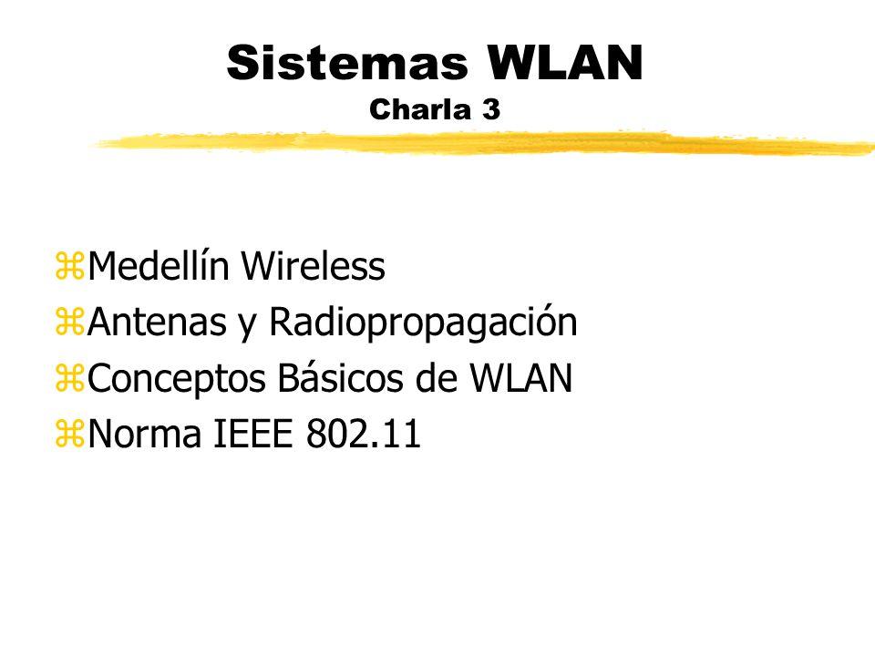 Sistemas WLAN Charla 3 zMedellín Wireless zAntenas y Radiopropagación zConceptos Básicos de WLAN zNorma IEEE 802.11