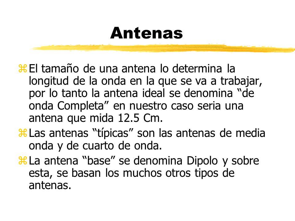 Antenas zEl tamaño de una antena lo determina la longitud de la onda en la que se va a trabajar, por lo tanto la antena ideal se denomina de onda Completa en nuestro caso seria una antena que mida 12.5 Cm.