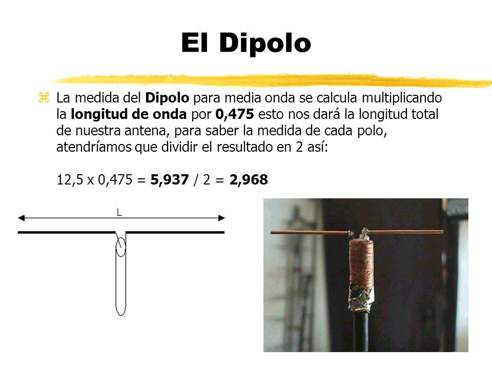 El Dipolo zLa medida del Dipolo para media onda se calcula multiplicando la longitud de onda por 0,475 esto nos dará la longitud total de nuestra antena, para saber la medida de cada polo, atendríamos que dividir el resultado en 2 así: 12,5 x 0,475 = 5,937 / 2 = 2,968