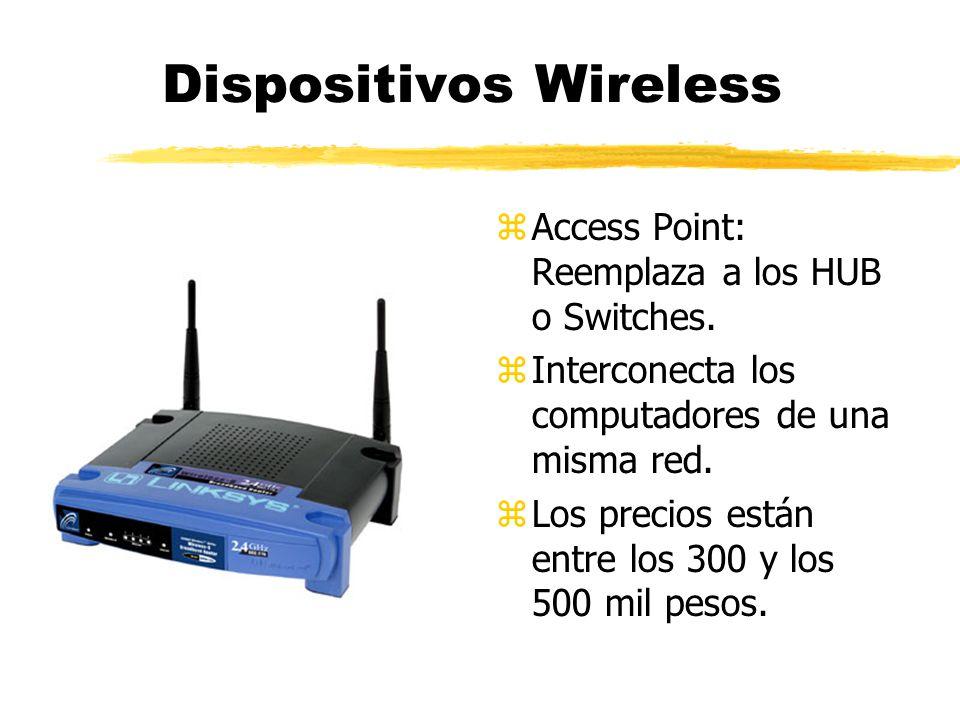 z Access Point: Reemplaza a los HUB o Switches. z Interconecta los computadores de una misma red. z Los precios están entre los 300 y los 500 mil peso