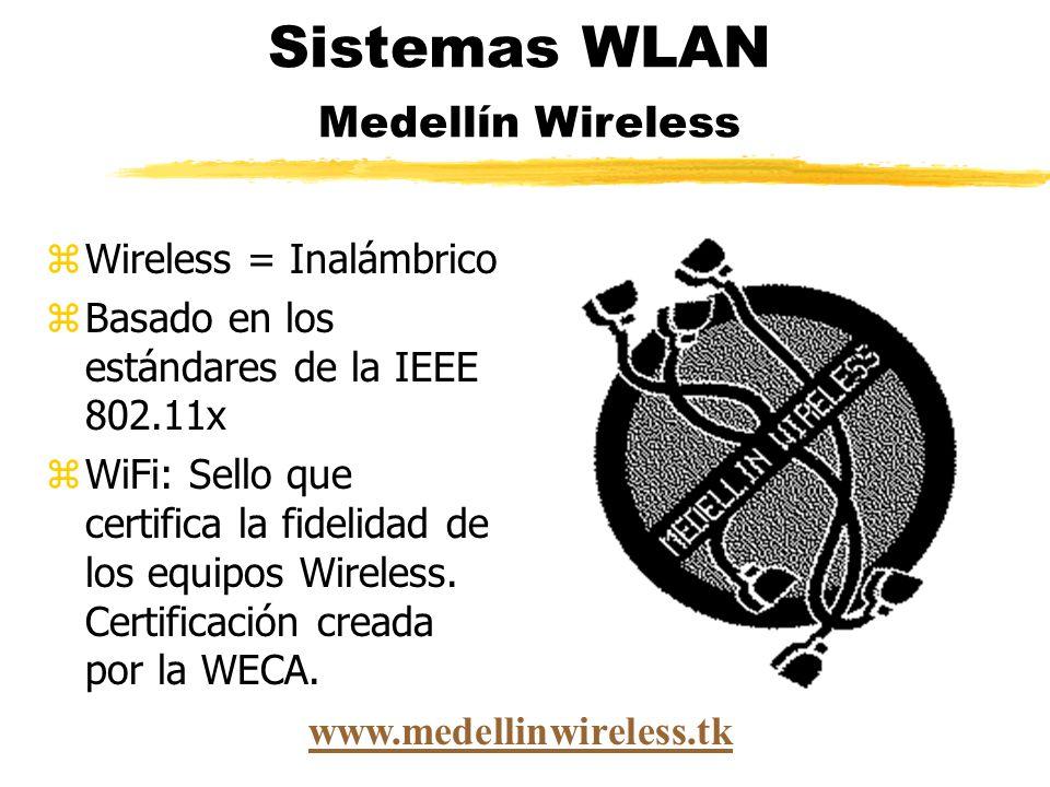 zWireless = Inalámbrico zBasado en los estándares de la IEEE 802.11x zWiFi: Sello que certifica la fidelidad de los equipos Wireless.