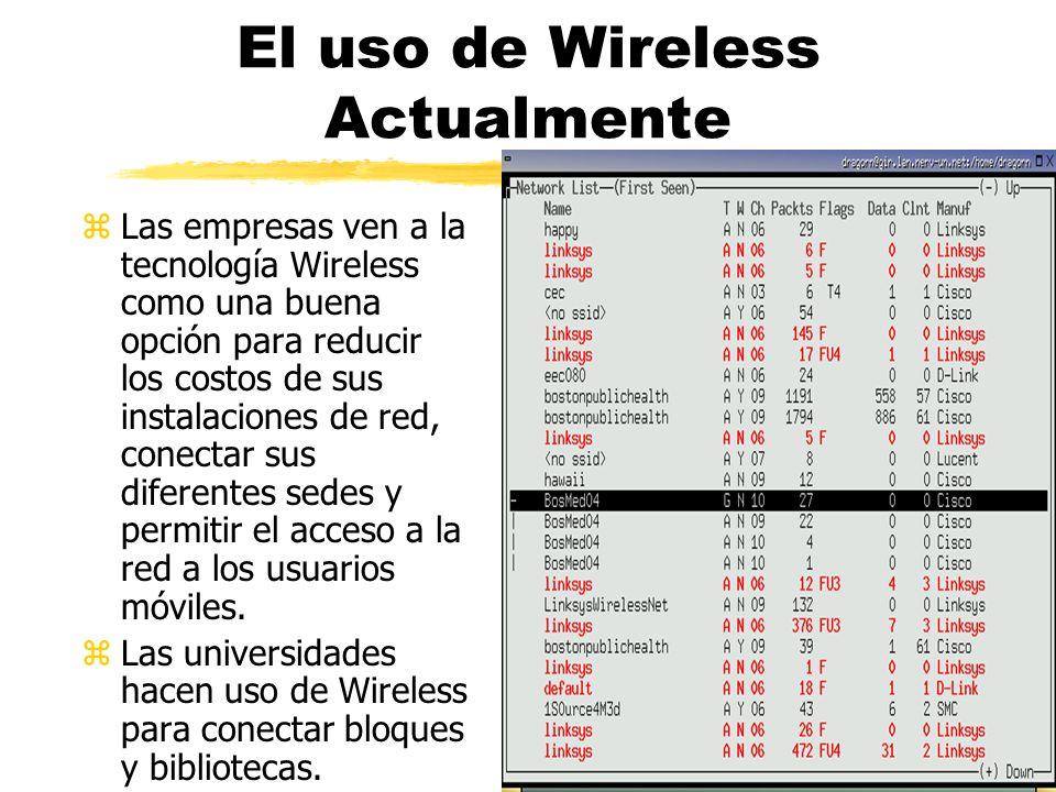 El uso de Wireless Actualmente zLas empresas ven a la tecnología Wireless como una buena opción para reducir los costos de sus instalaciones de red, conectar sus diferentes sedes y permitir el acceso a la red a los usuarios móviles.