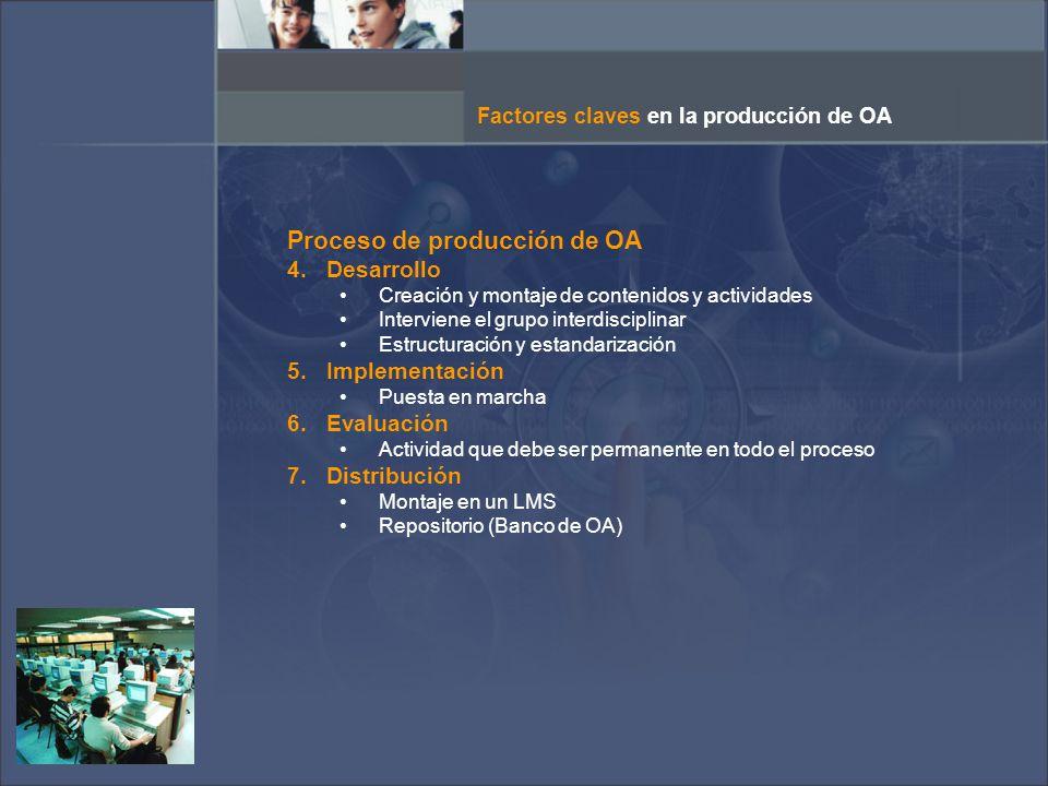 Proceso de producción de OA 4.Desarrollo Creación y montaje de contenidos y actividades Interviene el grupo interdisciplinar Estructuración y estandarización 5.Implementación Puesta en marcha 6.Evaluación Actividad que debe ser permanente en todo el proceso 7.Distribución Montaje en un LMS Repositorio (Banco de OA) Factores claves en la producción de OA