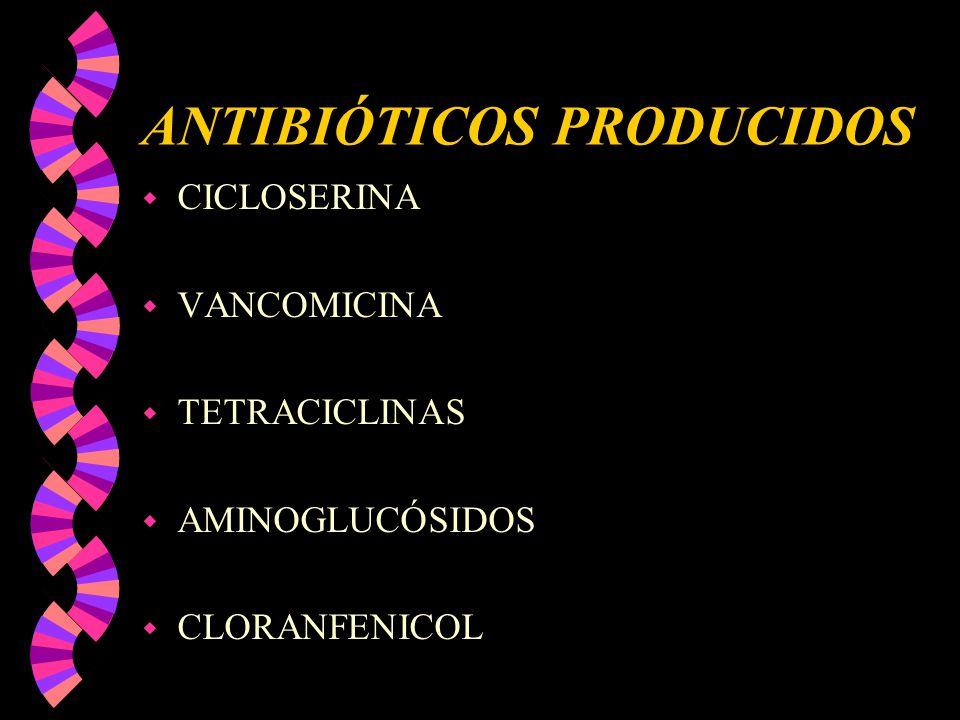 ANTIBIÓTICOS PRODUCIDOS w CICLOSERINA w VANCOMICINA w TETRACICLINAS w AMINOGLUCÓSIDOS w CLORANFENICOL