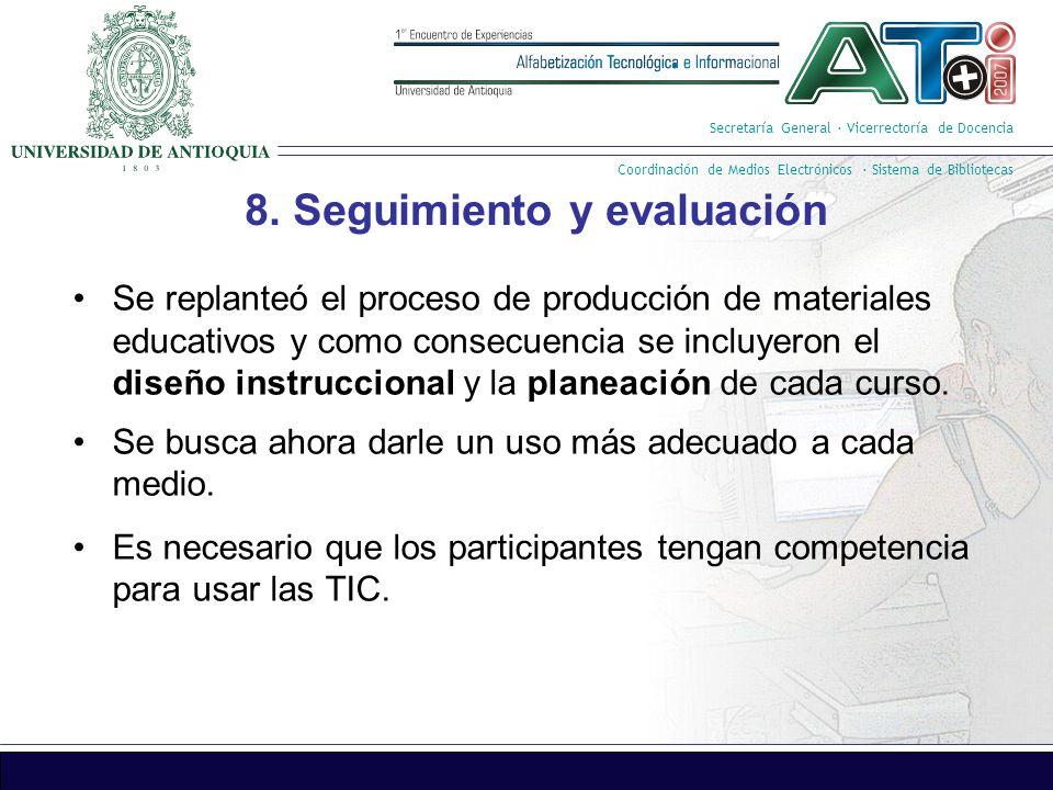 Secretaría General · Vicerrectoría de Docencia Coordinación de Medios Electrónicos · Sistema de Bibliotecas 8.