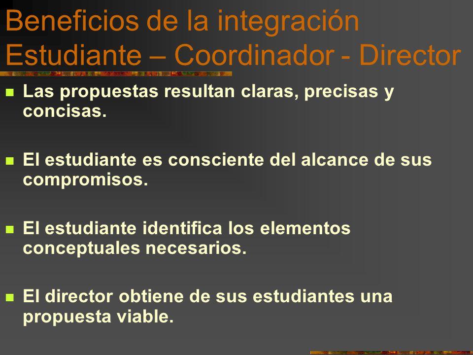 Beneficios de la integración Estudiante – Coordinador - Director Las propuestas resultan claras, precisas y concisas. El estudiante es consciente del