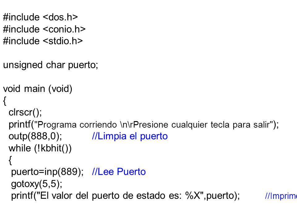 #include unsigned char puerto; void main (void) { clrscr(); printf( Programa corriendo \n\rPresione cualquier tecla para salir ); outp(888,0);//Limpia el puerto while (!kbhit()) { puerto=inp(889);//Lee Puerto gotoxy(5,5); printf( El valor del puerto de estado es: %X ,puerto); //Imprime