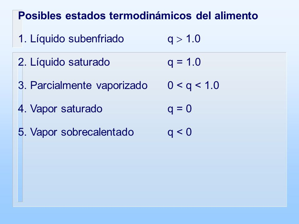 Posibles estados termodinámicos del alimento 1. Líquido subenfriadoq 1.0 2. Líquido saturadoq = 1.0 3. Parcialmente vaporizado0 < q < 1.0 4. Vapor sat
