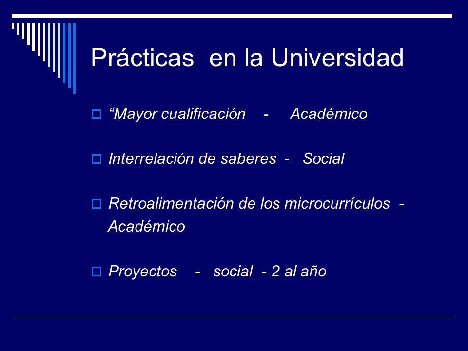 Prácticas en la Universidad Mayor cualificación - Académico Interrelación de saberes - Social Retroalimentación de los microcurrículos - Académico Proyectos - social - 2 al año