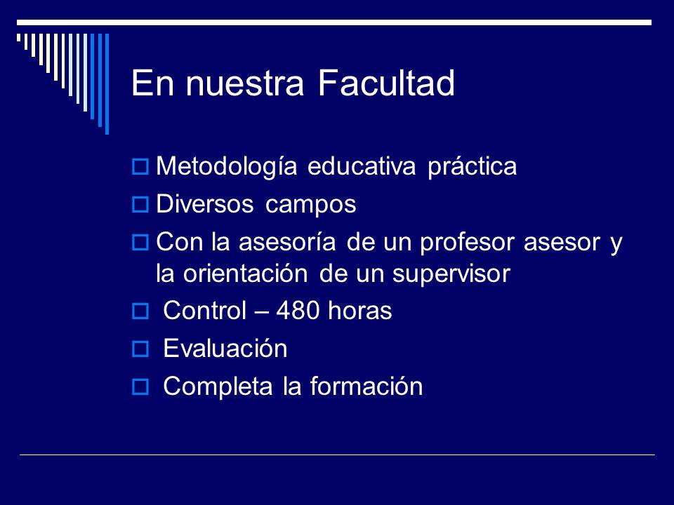 En nuestra Facultad Metodología educativa práctica Diversos campos Con la asesoría de un profesor asesor y la orientación de un supervisor Control – 4