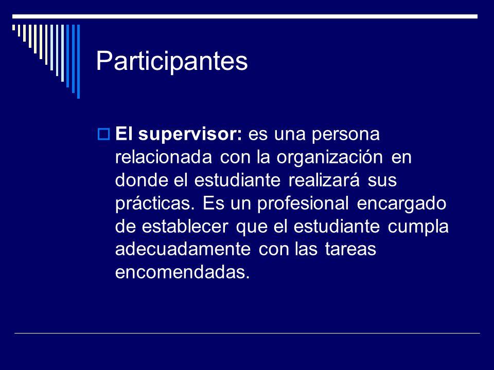 Participantes El supervisor: es una persona relacionada con la organización en donde el estudiante realizará sus prácticas. Es un profesional encargad