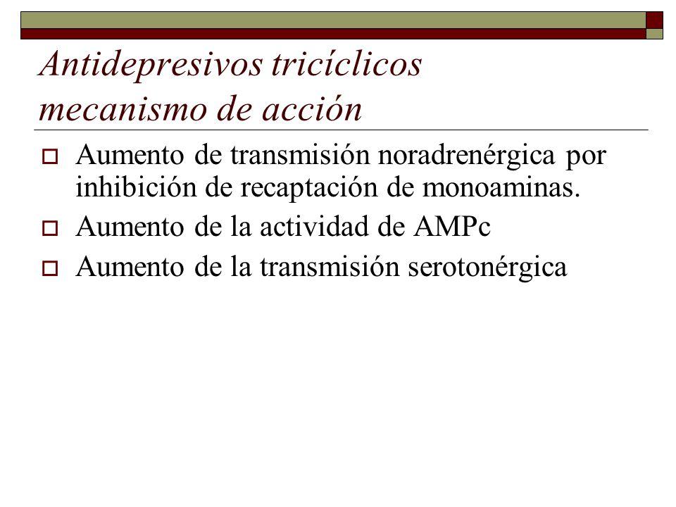 Antidepresivos tricíclicos mecanismo de acción Aumento de transmisión noradrenérgica por inhibición de recaptación de monoaminas.