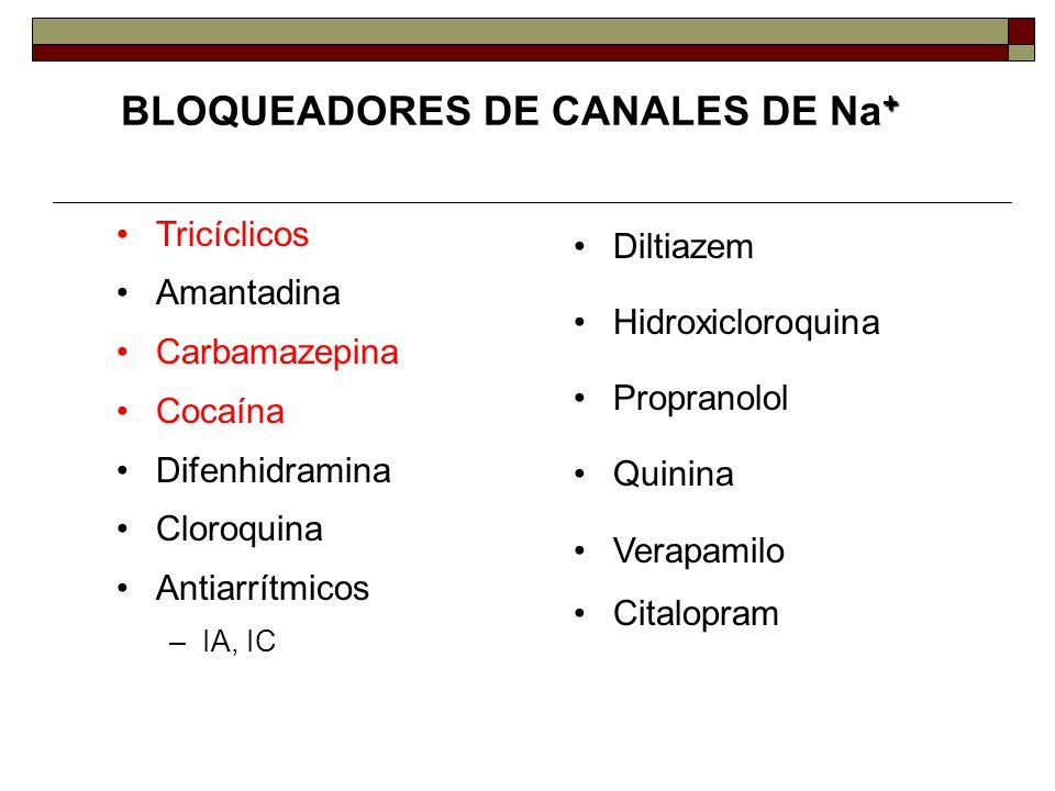 + BLOQUEADORES DE CANALES DE Na + Tricíclicos Amantadina Carbamazepina Cocaína Difenhidramina Cloroquina Antiarrítmicos –IA, IC Diltiazem Hidroxicloroquina Propranolol Quinina Verapamilo Citalopram