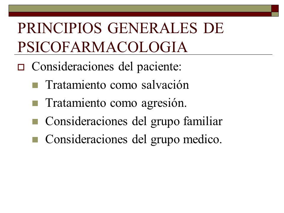 PRINCIPIOS GENERALES DE PSICOFARMACOLOGIA Consideraciones del paciente: Tratamiento como salvación Tratamiento como agresión.