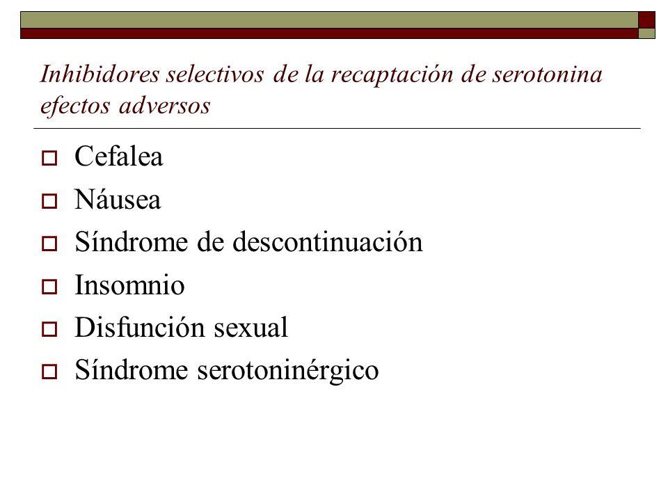 Inhibidores selectivos de la recaptación de serotonina efectos adversos Cefalea Náusea Síndrome de descontinuación Insomnio Disfunción sexual Síndrome serotoninérgico